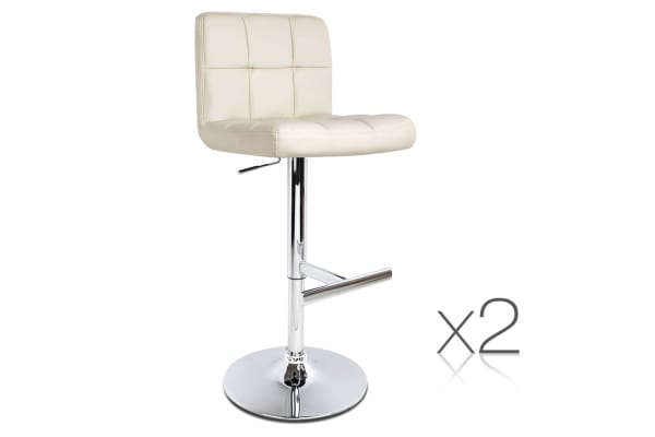 Set of 2 PU Leather Kitchen Bar Stool (Beige)