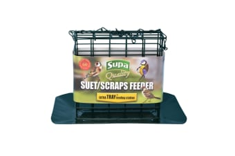 Supa Premium Suet Block/Scrap Bird Feeder With Tray (Green) (One size)