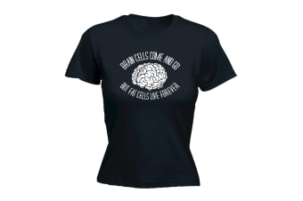 123T Funny Tee - Brain Cells Come And Go But Fat - (X-Large Black Womens T Shirt)