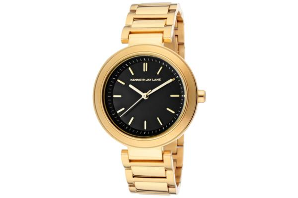 KJ LANE Women's Black Sunray Dial Goldtone IP Stainless Steel (KJLANE-2004)