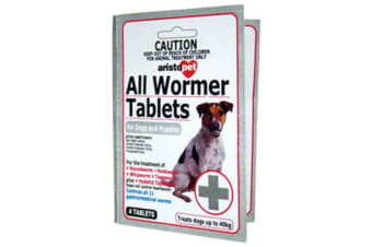 All Wormer Tablets for Dogs & Puppies 10kg - 4 Tabs (Aristopet)
