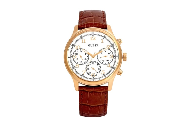Guess Taylor Croc Leather Watch (Gold/Brown)