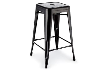 4x Black 66cm Metal Bar Stools- Replica Tolix