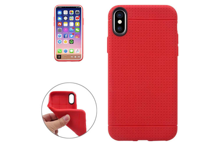 For iPhone XS X Case Elegant Honeycomb High-Quality Durable Protective Cover Red