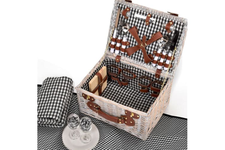 Deluxe 2 Person Picnic Basket Baskets Set Outdoor Corporate Blanket Park Trip  -  B