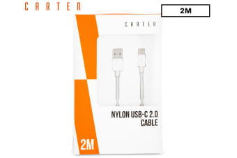 Carter 2m USB-B to USB-C Nylon Data Cable Charging Cord f/ Samsung S8/S9/S10/WH