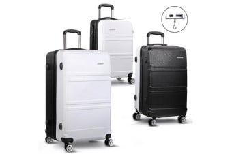 20/24/28inch Lightweight Hard Suit Case with Hand Scale (Black/White)