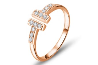 .925 Open Cuff Ring-Rose Gold/Clear  Adjustable Size