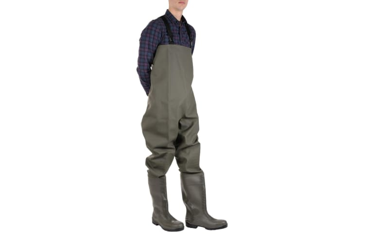 Amblers Mens Tyne Chest Safety Wader Wellingtons (Green) (7 UK)