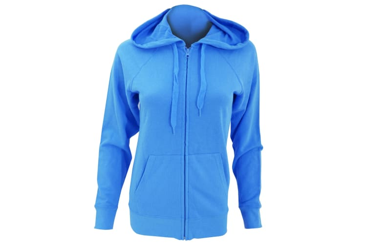 Fruit Of The Loom Ladies Fitted Lightweight Hooded Sweatshirts Jacket / Zoodie (240 GSM) (Azure Blue) (2XL)