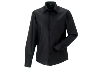 Russell Collection Mens Long Sleeve Tailored Ultimate Non-Iron Shirt (Black) (15inch)