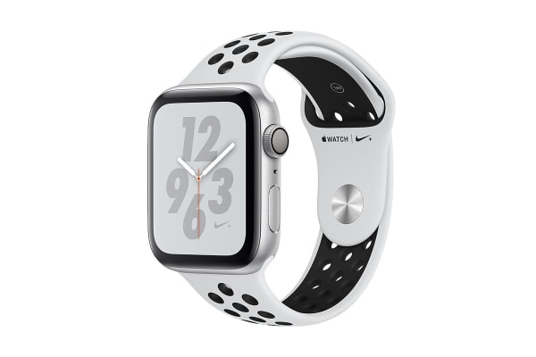 Apple Watch Nike+ Series 4 (Silver, 44mm, Pure Platinum/Black Nike Sport Band, GPS Only)