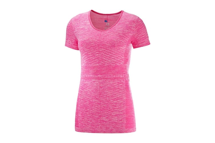 Salomon Elevate Move'On Short Sleeve Tee Women's (Pink Yarrow, Size Large)