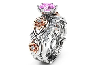 925 Sterling Silver & Rose Gold Filled White Sapphire Flower Ring Set