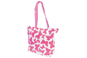 FLOSO Womens/Ladies Straw Woven Butterfly Print Top Handle Handbag (White/Fuchsia)