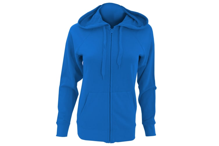Fruit Of The Loom Ladies Fitted Lightweight Hooded Sweatshirts Jacket / Zoodie (240 GSM) (Royal) (S)