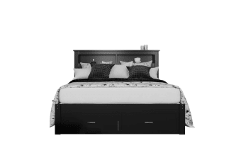 Porcia Queen Bed with Storage Shelves & Drawers - Black
