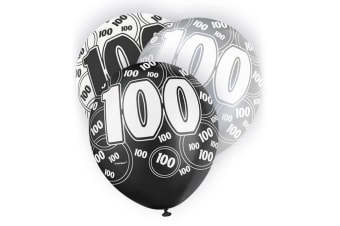 Unique Party 12 Inch 100th Birthday Black Balloons (Pack Of 5) (White/Black)