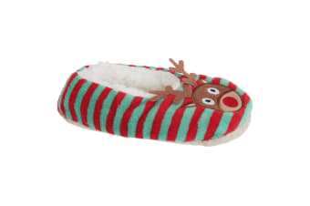 Slumberzzz Christmas Character Fluffy Grippy Slippers (Green/Red Reindeer)