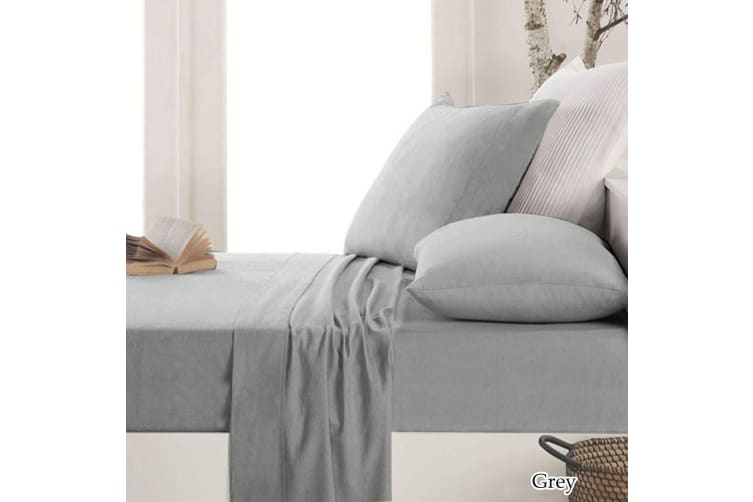 Easy-care Micro Flannel Sheet Set Grey King