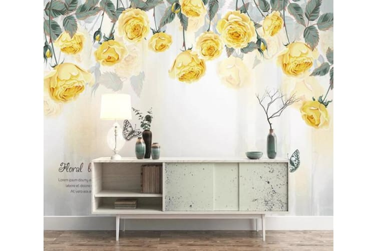 3D Yellow Flower 065 Wall Murals Woven paper (need glue), XXXL 416cm x 254cm (WxH)(164''x100'')
