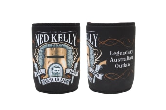 Stubby Holder Stubbie Can Beer Bottle Drink Cooler Australia Flag Funny Souvenir [Design: Ned Kelly - Legendary]
