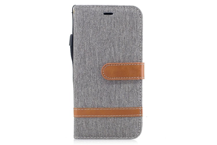 For iPhone XS X Wallet Case Styled Denim Leather Durable Protective Cover Grey