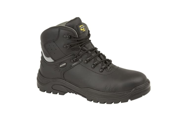Grafters Mens Transporter Padded Ankle Mid Safety Boots (Black/Grey) (7 UK)