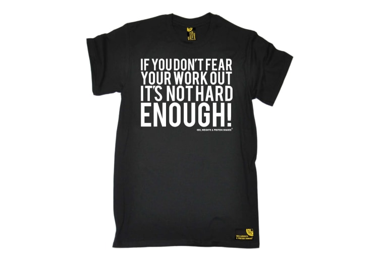 SWPS Gym Bodybuilding Tee - Dont Fear Workout Not Hard Enough - (Large Black Mens T Shirt)