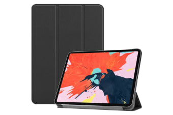 For iPad Pro 12.9 Inch (2018) Case PU Leather Folio Cover Black Karst Texture