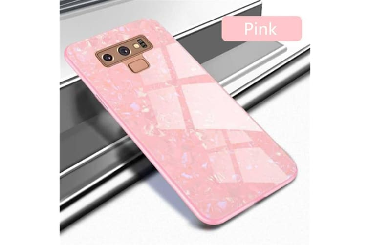 Shiny Seashell Pattern Tempered Glass Hard Back Cover Shell For Samsung Pink Samaung S8