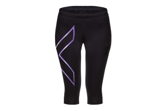2XU Women's 3/4 Compression Tights G1 (Black/Purple, Size XS)