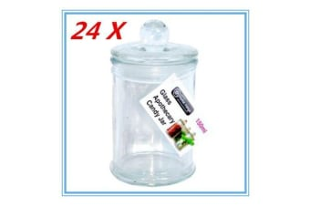 24 x Glass Apothecary Candy Jar with Lid, for Candy & Candle Waxing 150ml FREE D