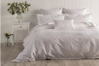 Onkaparinga Esther Jacquard Quilt Cover Set (White)
