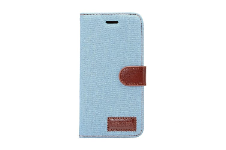 For Samsung Galaxy S9 Wallet Case Denim Textured Durable Leather Cover Baby Blue