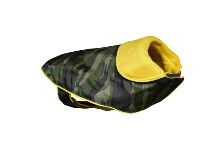Vital Pet Products Glitter Dog Raincoat With Fleece Lining (Khaki/Yellow) (22in)
