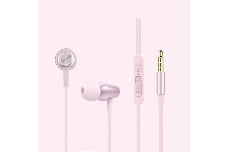 Xipin 3.5mm In-Ear Metal Earphone 1.2m Headphone w/Mic/Slide Volume Control Pink