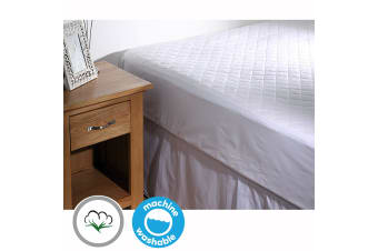 100% COTTON Quilted Mattress Protector 35cm Wall KING SINGLE
