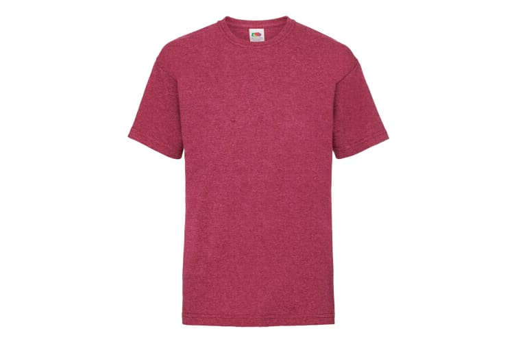 Fruit Of The Loom Childrens/Kids Unisex Valueweight Short Sleeve T-Shirt (Pack of 2) (Vintage Heather Red) (3-4)