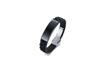 Personalized Silicone Stainless Steel Wristband Bangle - Black+Black Black