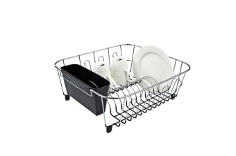 New D.line Small Dish Drainer Dishrack w/ Kitchen Caddy Utensil Holder Black