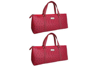 2x Sachi Insulated Wine Cooler Travel Bag Purse Tote Carrier Handbag Ostrich Red