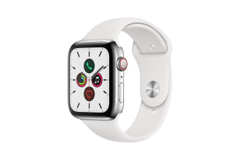 Apple Watch Series 5 (Stainless Steel, 44mm, White Sport Band, Cellular)