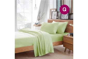 Queen Size Pistachio Color Poly Cotton Fitted Sheet Flat Sheet Pillowcase Sheet Set
