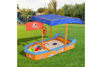 Keezi Kids Boat Sandpit Wooden Outdoor Play Sand Pit Toys Box Canopy Children