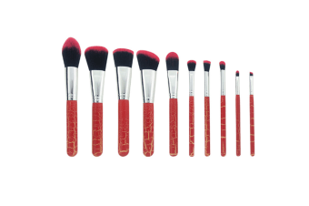 Makeup Brushes Set 10 Pcs Powder Blush Concealers Eyeshadows Brush - Red Leopard Print Red Leopard Print