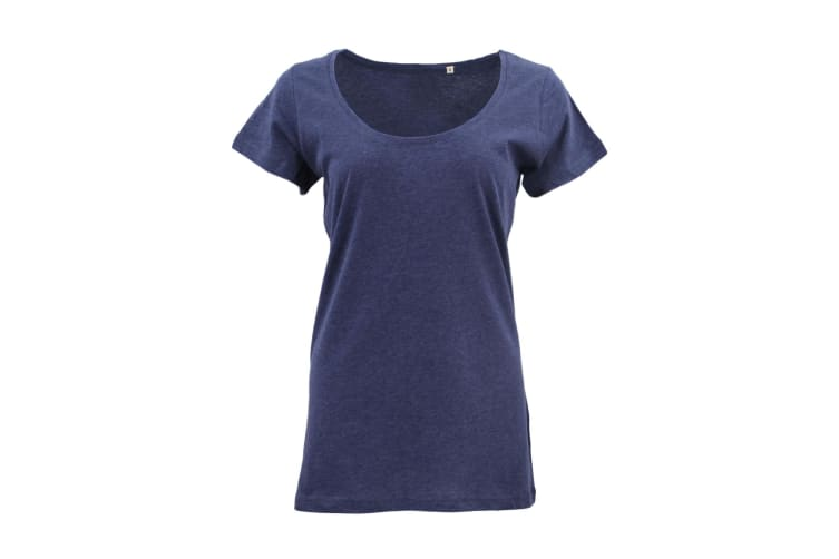 New Women's Plain Longline T Shirt Basic Crew V Neck Short Sleeve Tee Tops Dress - Navy