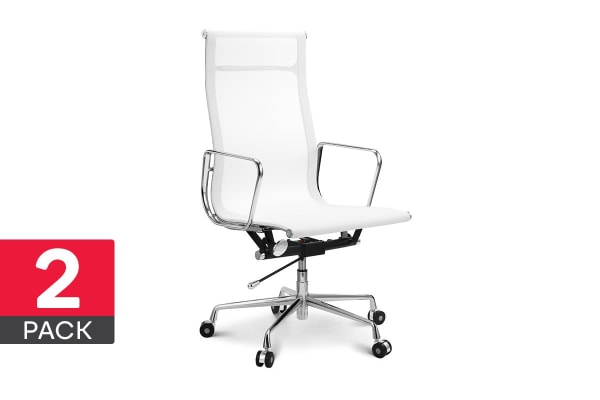 2 Pack Ergolux Executive Eames Replica High Back Mesh Office Chair (White)