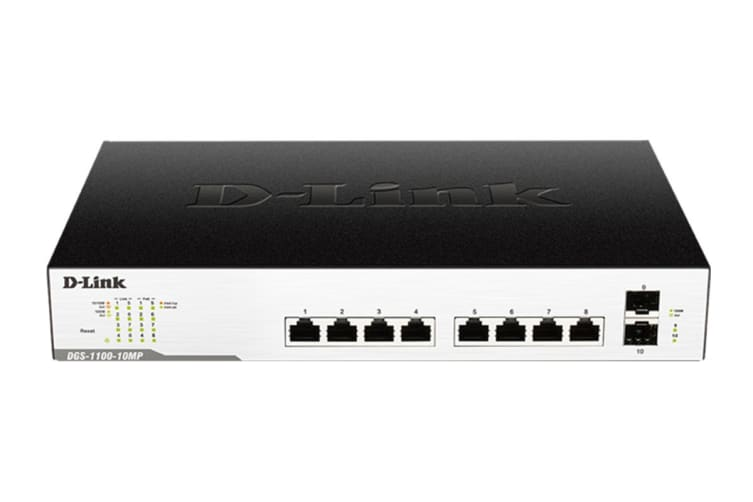 D-Link 10-Port Surveillance Switch with 8 PoE and 2 SFP ports (DGS-1100-10MP)