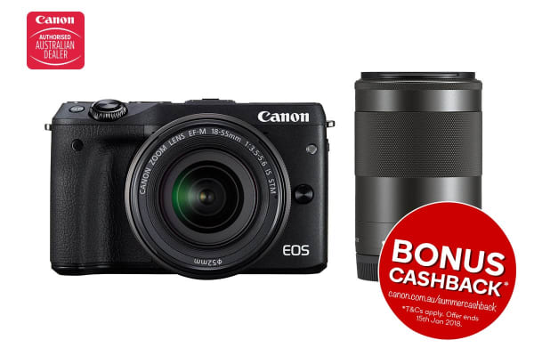 Canon EOS M3 Mirrorless Camera with 18-55mm IS STM & EF-M 55-200mm IS Twin Lens Kit